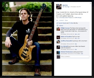 Omer posing with his Spector bass guitar. Isnt it a beauty?