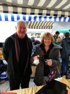 May Hill Brewery owners, Tony and Liz pouring  ales for the thirsty travellers