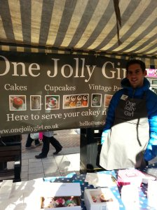 Angus at the One Jolly Girl stand in the High Town