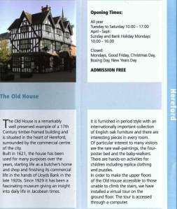 Herefordshire Council brochure mentioning The Old House Museum