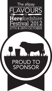 Black and white logo of the Hereford Food Festival with the name of the sponsor - The ALL Pay Limited