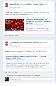 Flavours of Herefordshire Food Festival mentioned us on their official Facebook page