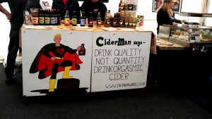 Orgasmic Cider humorous banner attracting clients to their stand