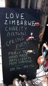 Sign near the door to Love Zimbabve Charity Spring Event