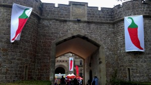 Entrance to Eastnor Castle decorated with chilli banners