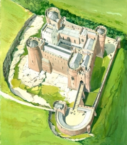 This is how the Goodrich Castle looked like in its prime. Official water color painting by Terry Ball