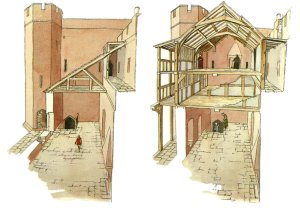 Cross sections of the east range with galleries overlooking the courtyard