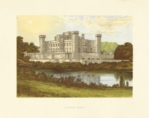 "Late 19th century view of Eastnor Castle published in ""The County Seats of the Noblemen and Gentlemen of Great Britain and Ireland* (London: 1864-1880)"" written by Reverend F. O. Morris"