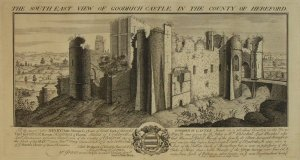 "Title: The South East View of Goodrich Castle in the County of Hereford Medium:Copper Artist:Buck S & N Engraver:Buck S & N Date: 1731 Published in: ""Buck's Antiquities or Venerable Remains of above four hundred Castles, Monastries, Palaces, etc. etc., in England and Wales. With near one hundred views of Cities and Chief Towns"" Picture can be found here: http://www.rareoldprints.com/gallery/Buck%27s%20Antiquities"
