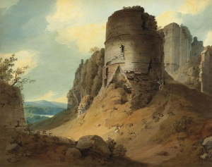 "Title: Goodrich Castle, Herefordshire  Author: Hugh William Williams known as Hugh ""Grecian""Williams (1773-1829) Signed and dated 'Williams/1801' (lower centre, on a rock) and inscribed 'Goodrich Castle/S Wales' (lower left) pencil and watercolour with gum arabic  The painting can be see here: http://www.christies.com/lotfinder/drawings-watercolors/hugh-william-grecian-williams-goodrich-castle-herefordshire-5520431-details.aspx"