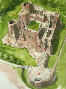 Goodrich as a ruin by Terry Ball with red dots marking main castle's attractions