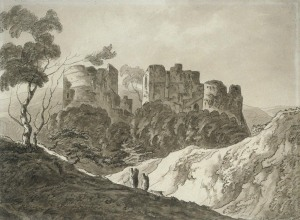 Thomas Barker (of Bath) (1769-1847) Painting title:Goodrich Castle Medium:Sepia wash on paper Location;UK, London, Government Art Collection GAC number:	8003 http://www.gac.culture.gov.uk/