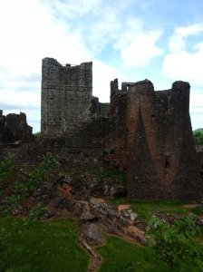 Goodrich Castle  - picture from the  outside promenade leading to the ruins