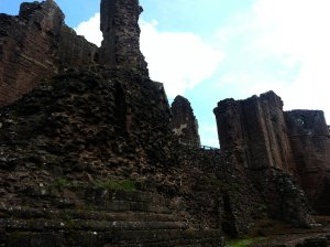 Closer look at the walls and one of the damaged towers