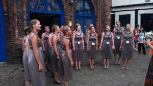 April Girls Choir  during the performances on the street