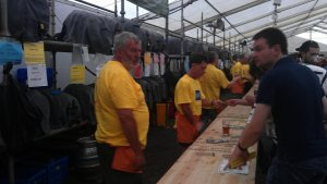 Volunteers working hard