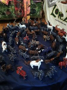 Sophisticacated dsiplay - wire and beads animals