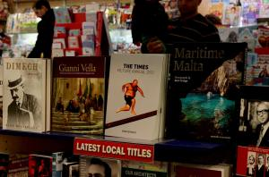 Display at Agenda book store at Embassy Complex, Valletta, January 2014