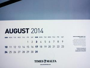 Allied Newspapers` corporate calendar for 2014, August page in detail