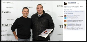 Darrin Zammit Lupi and Daniel Caruana at the Time of Malta offices, as seen on Facebook on December 31, 2013