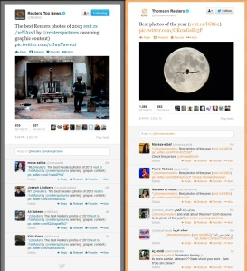 Reuters Twitter accounts on December 2013