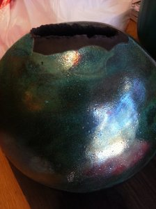 Raku pottery by Kate Dawson - Rita's favorite piece of art this year!