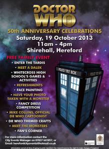 Official poster for Doctor Who 50 year celebration in Hereford