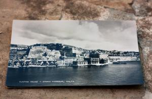 One of the ABC cards using  photos of old Valletta