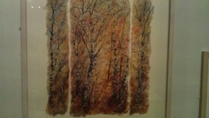 Golden light by Helen Crawford - silk paper, mixed media and stitch