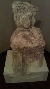 Kate Morgan-Clare's Granny chair - mixed media art. Sadly, not for sale.