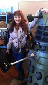 Rita was brave enough to have a picture taken with an empty Dalek shell. Nobody in their right mind would ever approach the real Dalek.  It's a big no-no and don't ever even think about it!