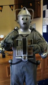 Artist and sculptor Raymond Noakes as the Terror in silver - The Cyberman