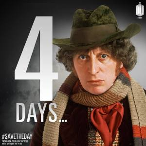 Tom Baker playing the Fourth Doctor