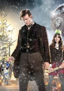 Doctor and Clara ready to celebrate...on Trenzalore