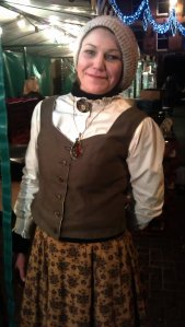 Emma  - the gracious host at Severn Cider stand, dressed as a Victorian barmaid.