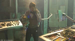 Matt Smith as the Doctor taking a call inside the TARDIS. Somehow, we are not convinced that he is ordering a pizza...