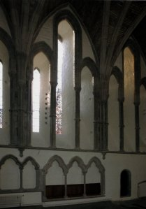 Brecon Cathedral - Lancet windows in the south wall of the chancel, a prime example of the Early English Gothic style.  Photography by R.J.L Smith. Used with permission