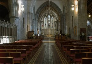 Brecon Cathedral - The nave from west end Photography by R.J.L Smith. Used with permission