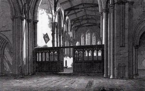 Brecon Cathedral - before the alternations and renovation made by Gilbert Scott in 1860's.  Engraving reproduced from A Shirt Account  of the Church of St John the Evangelist or Holy Rood at Brecon, printed for the first time by D. C. Dallas in London in 1873. Used with permission
