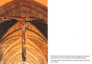 Brecon Cathedral - Bronze crucifix in detail. Photography by the Brecon Cathedral Archives. Used with permission