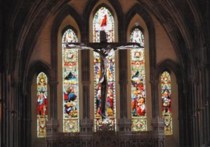 Brecon Cathedral - Main nave with the cross Photography by The Brecon Cathedral Archives. Used with permission