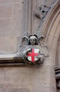 Angel relief on the exterior of All-Hallows-By-The-Tower church
