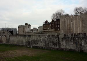 The old walls surrounding the Tower of London