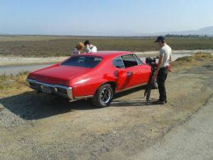 Paradigm trailer being shot in the California desert - we love the red GTO!