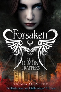First book in the Demon Trappers saga entitled  Forsaken. You can buy a copy here: http://www.amazon.co.uk/The-Demon-Trappers-Jana-Oliver/dp/0330519476