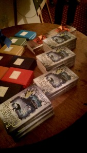 Jasper Fforde books ready to be signed