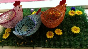 A flock of Easter hen baskets