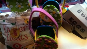 A close up at the mysterious looking baskets made from felt