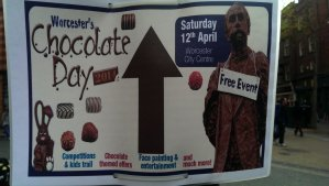 Chocolate Day poster in the city center