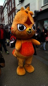 Seriously scary mascot walking the street - the kids were not impressed!